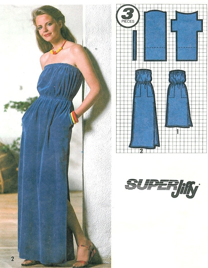 e14c63ac7d Strapless Dress Sewing Pattern Sz 14/16 Long Short Beach Terry Cloth Cover- Up Easy Vintage 9032