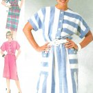 Kimono Sleeve Dress Sewing Pattern 80s Button Front Belted Retro Mod Easy Sz 12-16 7314