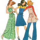 Apron Dress Sewing Pattern Vintage 12/14 Knee Long Top Tunic Halter Easy 70s 6915