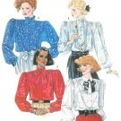 Dress Blouse Top Sewing Pattern Sz 14 Vintage 80s Gathers Long Sleeves Tie Collar Retro Mod 2233