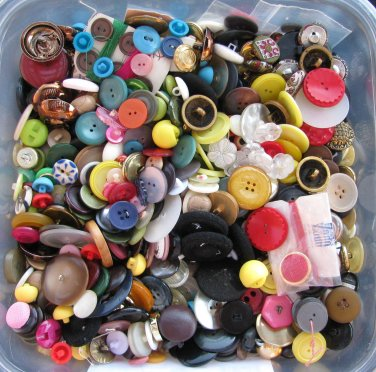 Vintage Sewing Button Lot 2 Pounds Large Small Colorful Metal Plastic Glass Craft Jewelry