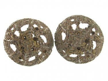 Vintage Ornate Metal Buttons Coat Large 1 Inch Metal Gold Whitewash Set 2 Sewing Craft