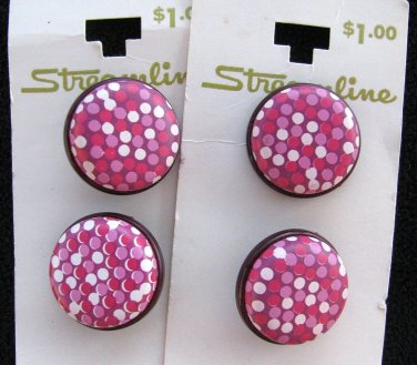 Pink Polka Dot Buttons Vintage Plastic Raspberry Cranberry Lot 7/8 Inch Streamline Sewing Craft