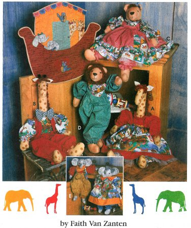 Noahs Ark Sewing Pattern Giraffe Lion Elephant Clothes Wall Hanging Nursery Baby Decor Church 9509