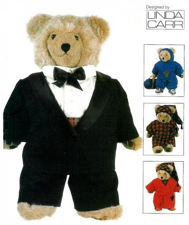 "Vogue Sewing Pattern Teddy Bear Clothing 23"" Tuxedo Sweatsuit Nightgown Robe 9093"