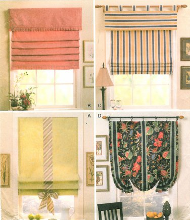 Roman Shade Sewing Pattern Soft Fold Baloon Valance Topper Pole Tab Top DIY Window Treatments 4311
