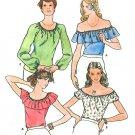 Peasant Blouse Sewing Pattern Vintage 8/10 Off Shoulder Pirate Hippie Mod Long Short Sleeve 5975