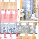 Tab Top Drapes Sewing Pattern Panels Easy Casual Window Curtain Ties Button 6109