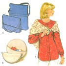 Long Raglan Sleeve Top Sewing Pattern Button Easy 12 Messenger Bag Round Handbag Scarf Vintage 8634