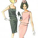 Two Piece Dress Sewing Pattern 60s Slim Skirt 10 Sleeveless Top Vintage Retro Mod Jackie O  7281