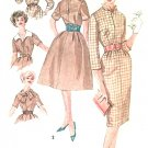 Vintage Sewing Pattern Sheath Dress Full Skirt 50s Sz 10 Peter Pan Scarf Collar Easy 3153