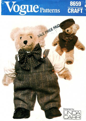 Vogue Teddy Bear 23 Inch Outfit Sewing Pattern Overalls Shirt Bow Tie Cabbie Hat Vest Shoes 8659