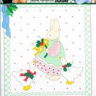 Daisy Kingdom Christmas Cross Stitch Stamped Sampler Noel Rabbit Duck Holly Aida 10 x 11 Bucilla