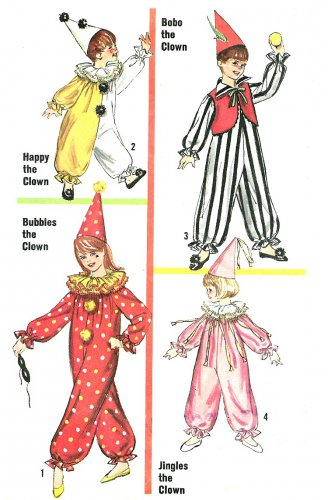 Vintage Clown Jester Costume Sewing Pattern Unisex Boy Girl 8/10 Halloween Theater 6198