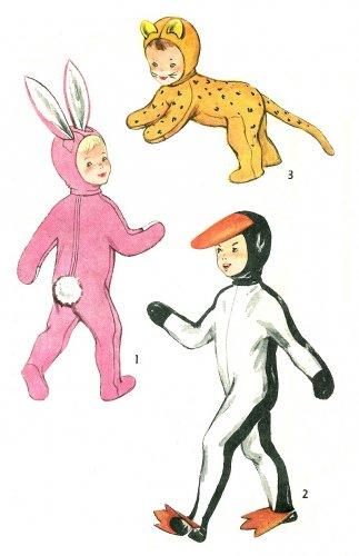 50s Halloween Costume Sewing Pattern 2-4 Rabbit Tiger Cat Duck Child Boy Girl Vintage 4073