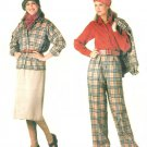 Vintage Vogue Sewing Pattern Pant Suit Skirt Jacket Blouse 14 16 18 Plus Easy Elastic Waist 0995