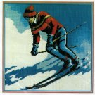 Snow Skier Needlepoint Kit 14 x 14 Persian Wool Yarn 70s Vintage Monarch Lodge Winter Sports Skiing