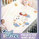 Angel Bunny Stamped Baby Quilt Embroidery Kit Rabbit Blanket Blue Balloon Hearts Nursery Bedding