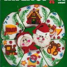 "Dimensions Mr Mrs Santa Claus Wreath Crewel Embroidery Stamped Kit Vintage 14"" Holiday Christmas"