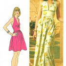 Halter Dress Sewing Pattern Sz 12 Vintage Midriff Raised Bodice Long Short 70s Hippie 5672