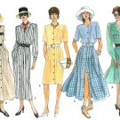 Vogue Dress Sewing Pattern 14-18 Button Front Long Short Sleeve Full Straight Skirt 1147