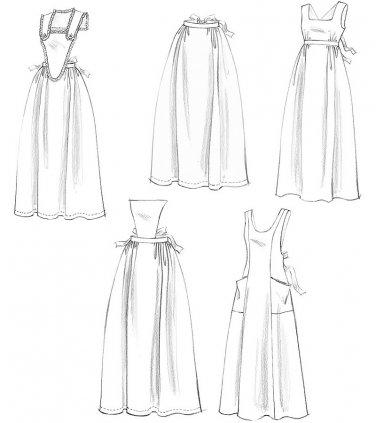 Vintage Apron Designs Sewing Pattern 8-18 Bib Colonial Prairie Historical Half Long Costume 5509