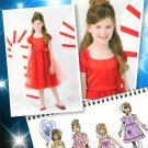 Girls Formal Fancy Dress Sewing Pattern 1-3 Full Skirt Overlay Short Sleeve Straps 0223