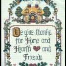 Counted Cross Stitch Kit We Give Thanks For Home Hearth Friends 8 x 10 14 Ct Aida