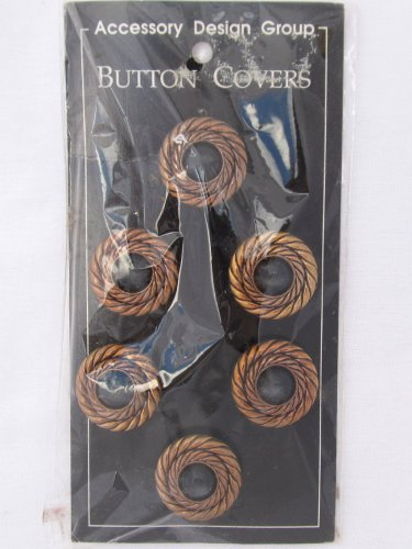 Vintage Button Covers Copper Rope Black Set 6 Retro Mod Disco 1 1/4 New Old Stock