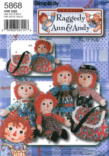 Classic Raggedy Ann Andy Sewing Pattern 21 Inch Doll Toy Dress Pinfore Jumper Bloomer Hat 5868