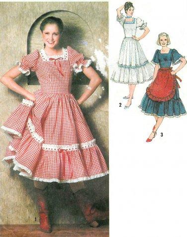 Square Dance Dress Sewing Pattern 14 Western Costume Folk Fiesta Ruffles Apron Vintage 9103
