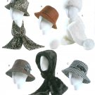 Women's Hats Sewing Pattern Bucket Fedora Floppy Headwrap Scarf Winter Rain 4366