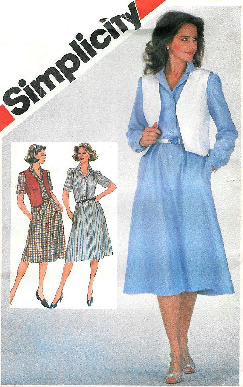 Button Front Dress Vest Sewing Pattern 16 Vintage Shirtdress Below
