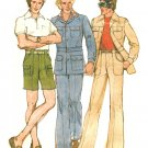 Mens 70s Leisure Suit Sewing Pattern Sz 40 Mod Jacket Pants Cargo Shorts Bell Bottom 4710