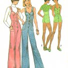 Easy Jumpsuit Overalls Sewing Pattern Sz 10 Hippie Pant Shorts Wide Leg Fitted Suspender 70s 6904