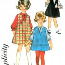 Girls A-line Jumper Dress Sewing Pattern Sz 6 1960s Above Knee Blouse Tie Easy 5638