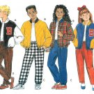 Kids Letter Jacket Sewing Pattern 7-14 Unisex Zipper Sports Quilted Cheer Easy 6291