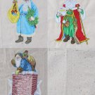Machine Embroidered Santa Quilt Block Pillow Stocking 3 Old World Large Traditional St Nicholas