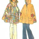 Vintage Poncho Sewing Pattern 70s Hippie Funky One Size Easy Reversible Hood Button Front 6630