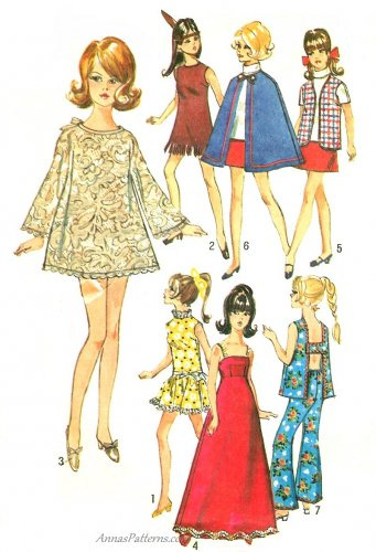 Vintage Barbie Clothes Sewing Pattern 60s Swing Shift Dress Gown Cape Mini Skirt Bell Bottom 8466