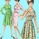 1960s Button Front Dress Sewing Pattern 12 Easy Full Slim Skirt Short Long Sleeve Retro 5877