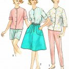 60s Pant Wrap Skirt Top Sewing Pattern 12 Pencil Pusher Skinny Crop Button Blouse Shorts 4949