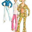Hippie Mod Pants Top Bra Sewing Pattern Sz 12 1965 Hip Hugger Bell Bottom 6501