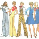 Wide Leg Overalls Sewing Pattern 70s Sz 12 Jumper Dress Flared Easy Hippie Rockabilly 7006