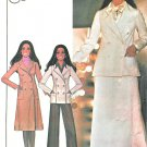 Misses 70s Pant Suit Sewing Pattern 10 Lined Trench Coat Jacket Double Breasted Skirt 4781