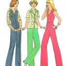 70s Zip Front Halter Jumper Sewing Pattern Sz 10 Jacket Bell Bottom Hippie Clothing 7929