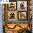 Winter Birds Wall Quilt Pattern Snow Birdhouse Garland Cabin Holiday Winter