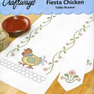 Fiesta Chicken Table Runner Stamped Cross Stitch Kit Flower Border 14 x 44 Country Kitchen