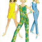 60s Jumpsuit Sewing Pattern Sz 14 Twiggy Slim Fit Pant Shorts Zip Front Sleeveless 7133