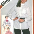 1980s Blouse Shirt Sewing Pattern Plus 16 Button Front Mandarin Tie Stand-up Ruffle Collar 5243